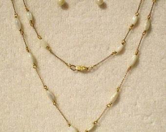 Vintage 12kt g.f. Mother of Pearl Necklace/Earring set