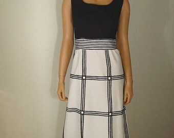 1960s -1970s Black and White Grid Maxi Dress