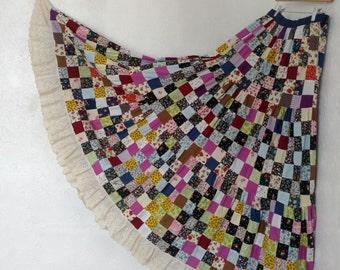 Magical 1960s Patchwork Quilt Maxi Skirt Hand Made