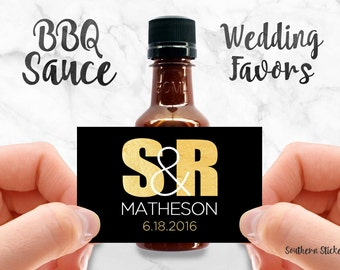Custom BBQ Sauce Favors Personalized Labels & Empty 50 mL Bottles Wedding Favors Waterproof Printed Stickers Engagement Party Favors SS-1053
