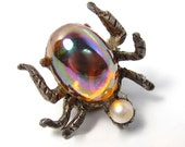 Vintage AJC Spider Bug Orange Iridescent & Pearl Body Tie Tack Lapel Pin Insect