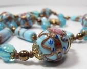 Vintage 1930s Venetian Blue Wedding Cake Pink Rose Gold Foil Art Glass Necklace