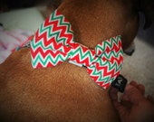 Dog Bow Tie:  Christmas Red & Green Chevron Dog Bow Tie