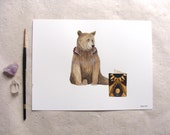 ORIGINAL // Critters and Cards: Bear // Watercolor and Pen