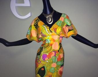 Groovy Vintage 70s Hawaiian Maxi Dress MOD Flower Power Orange Print Adjustable Tie Back Empire Waist Tiki Oasis Hukilau Luau Beach Wedding