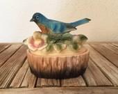 Vintage Chalkware Bluebird Trinket Box