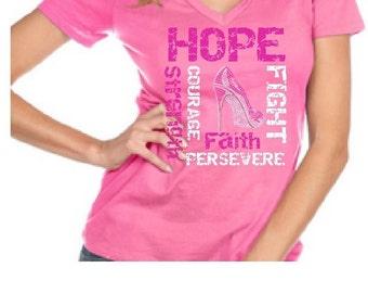 Breast Cancer Ribbon Hope Fight Strength Faith Custom BLiNg Shirt