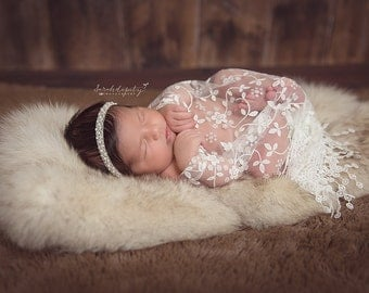 Newborn Baby Wrap in White Floral Lace with Fringe AND/OR Pearl Hand Beaded Headband - perfect for newborns for photo shoots