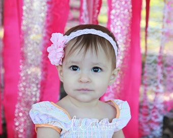 Light Pink Blossom Flower on Light Pink Stretch Lace. Perfect for a newborn! Use for photo sessions or everyday wear by Lil Miss Sweet Pea