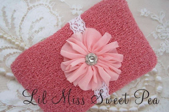 Newborn Baby Wrap in Peony Pink AND/OR Matching Headband for newborns, photo shoots infant, baby photo, photographer by Lil Miss Sweet Pea
