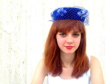 Vintage blue veil hat