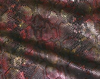 "Leather 12""x12"" ELEGANT Rose Dust Metallic SUNSET on Black cowhide 3-3.5 oz / 1.2-1.4 mm PeggySueAlso™ E2869-07"