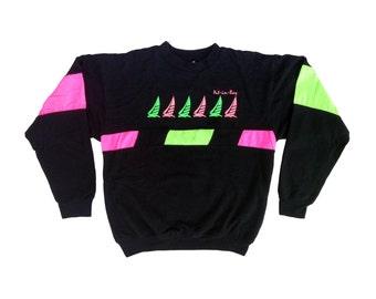 Super Soft 80s Neon'd Out Put-In-Bay Crewneck - M / L