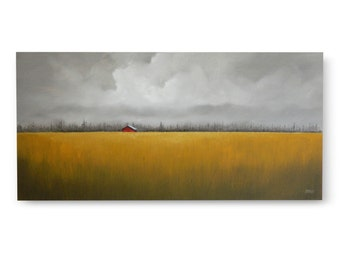 "Original Art, LARGE LANDSCAPE PAINTING 24 X 48 ""Solitude"" wall decor, signed, horizontal, field and barn"
