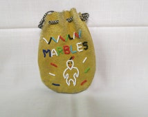 Vintage Marble Bag Road Side Art Rough Out Suede Leather Hand Beaded