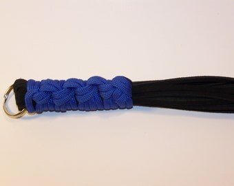 Mini Flogger Blue Handle Black Suede Falls Mature
