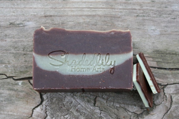 Cocoa Butter Bar Soap, chocolate mint soap, essential oil soap, soap for men, spa soap, brown, green, grey, fall, autumn