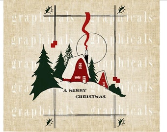 Winter Christmas house scene Red Green instant digital download image for transfer to fabric burlap papercraft tote bags pillows  No. 2181