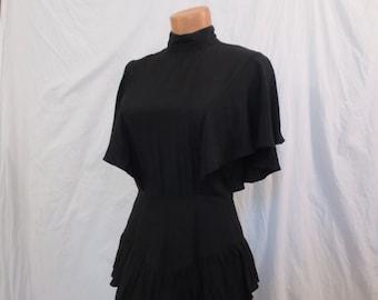 RUMBA RUFFLES black hourglass dress - goth vamp - open back - Ashlee XS