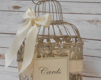 Small Wedding Birdcage Card Box / Wedding Card Holder / Wedding Card Box / Wedding Birdcage / Wedding Decor / Gold Birdcage / Weddings