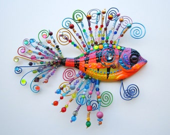 Original whimsical fish sculpture