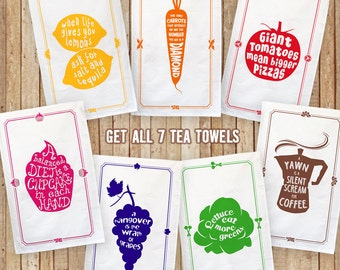 Cotton Tea Towels - Full Set of all 7, Special Offer, Foodie Gift, Kitchen Lover Gift