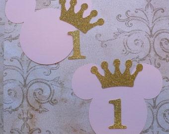 2 DIY Minnie Mouse Pink Happy Birthday 1 Princess Gold Glitter Crown Centerpiece Baby Girl DIY Make Your Own Birthday Party Centerpiece