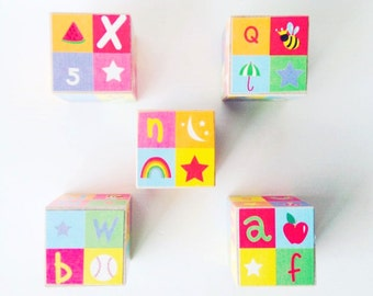 Alphabet blocks. Wood blocks. Baby Shower Decoration.  New baby gift. Gender neutral.  Nursery Decor. Unique children's gift. rainbow.