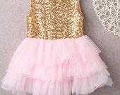 Baby Girl  pink and  gold Tutu,Pink Glitter Tulle Dress, Birthday Girl Dress, Toddler Dress, Girl Sequined Dress