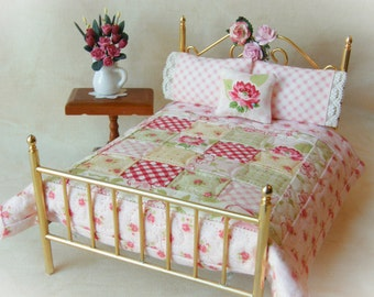 "Dollhouse Miniature Scale Quilt ""Angie""  with 2 Matching Bed Pillows & Decorator Pillow - 1:12 Scale, Shabby Chic miniatures"