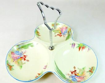 Art Deco Cake Stand, Midwinter Porcelon Crinoline Lady Flower Garden 3-Lobed Bonbon Petit Four Serving Dish Bonbonniere 1920s