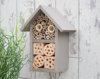 Solitary Bee Hotel, Insect House, Wildlife House, Two Tier, in 'Muted Clay'. Can be personalised