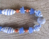 blue beach necklace, glass beads necklace, tropical jewelry, hawaiian made, art glass necklace