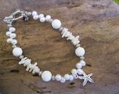 beach wedding bracelet, white pearl bracelet, starfish bracelet, carved white coral bracelet, hawaiian jewelry