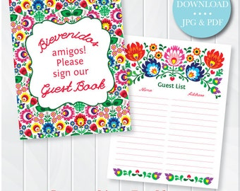 Fiesta Guest Sign In Sheet - Printable PDF - Wedding Shower Sign In Sheet - Instant Download - Guest List - Bridal Shower - Baby Shower