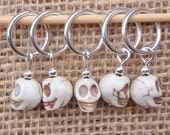 Skull stitch markers, set of five