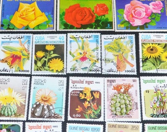 50 Flower Stamps from around the world  B50