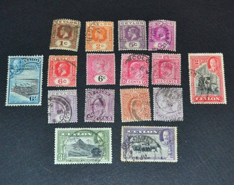 16 Ceylon stamps from 1910-1938