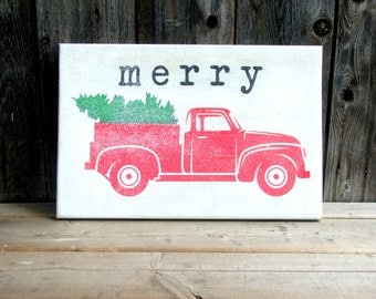 vintage retro styled pickup truck christmas  tree merry sign holiday christmas red white green santa photo prop decor