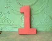 Coral Paper Mache Number One Prop, Birthday Number Props, Number One Sign Prop for Birthday Photos