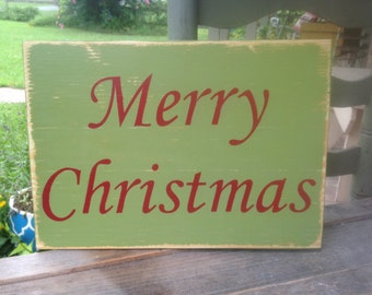 Red and Green Merry Christmas Sign, Wooden Christmas Home Decor Signs, Merry Christmas Mantle Sign