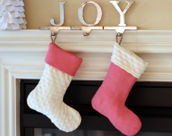Baby or Child Stocking - Single (1) - Burlap and Minky Dimple