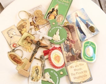 destash salvaged lot religious stuff assorted medals relics images keyrings and more for assemblage crafts lot R12