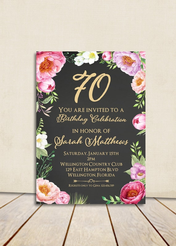 Floral Peony Chalkboard 80th Birthday Invitation Adult Any Age Vintage Rose Cottage Chic Printable Invite