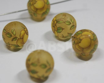 2 pieces 12mm Round frosted Matt surface Japanese TENSHA Beads with yellow Rose (TS23)
