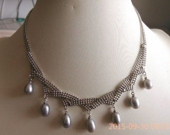 Pearl Necklace - cultured 7-8mm gray pearl necklace 37-46cm