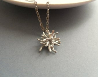 Wire jewelry, contemporary necklace, silver tone artistic pendant, best friend gift, bohemian necklace, gift for  women, Thistle