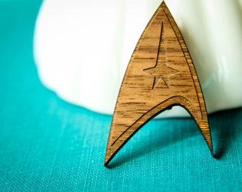 Star Trek Brooch, Laser Wood Cut