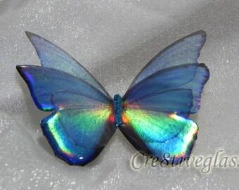 Rich light blue sparkling iridescent resin butterfly