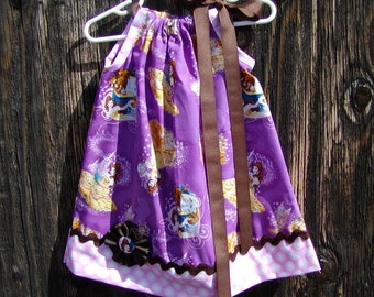 Girls Dress Pillowcase style...Beauty and the Beast...Custom. sizes 0-6, 6-12, 12-18, 18-24 months, 2T, 3T..Bigger sizes AVAILABLE